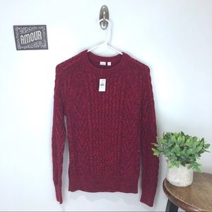 GAP Wavy Cable Knit Sweater in Berry